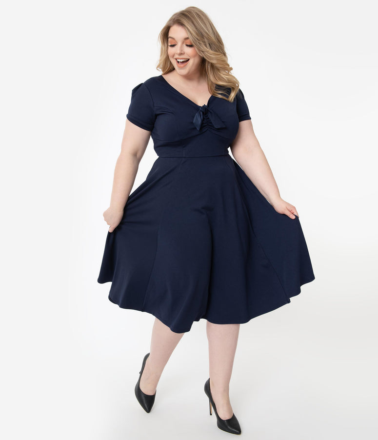 Unique Vintage Plus Size 1940s Style Navy Blue Natalie Swing Dress