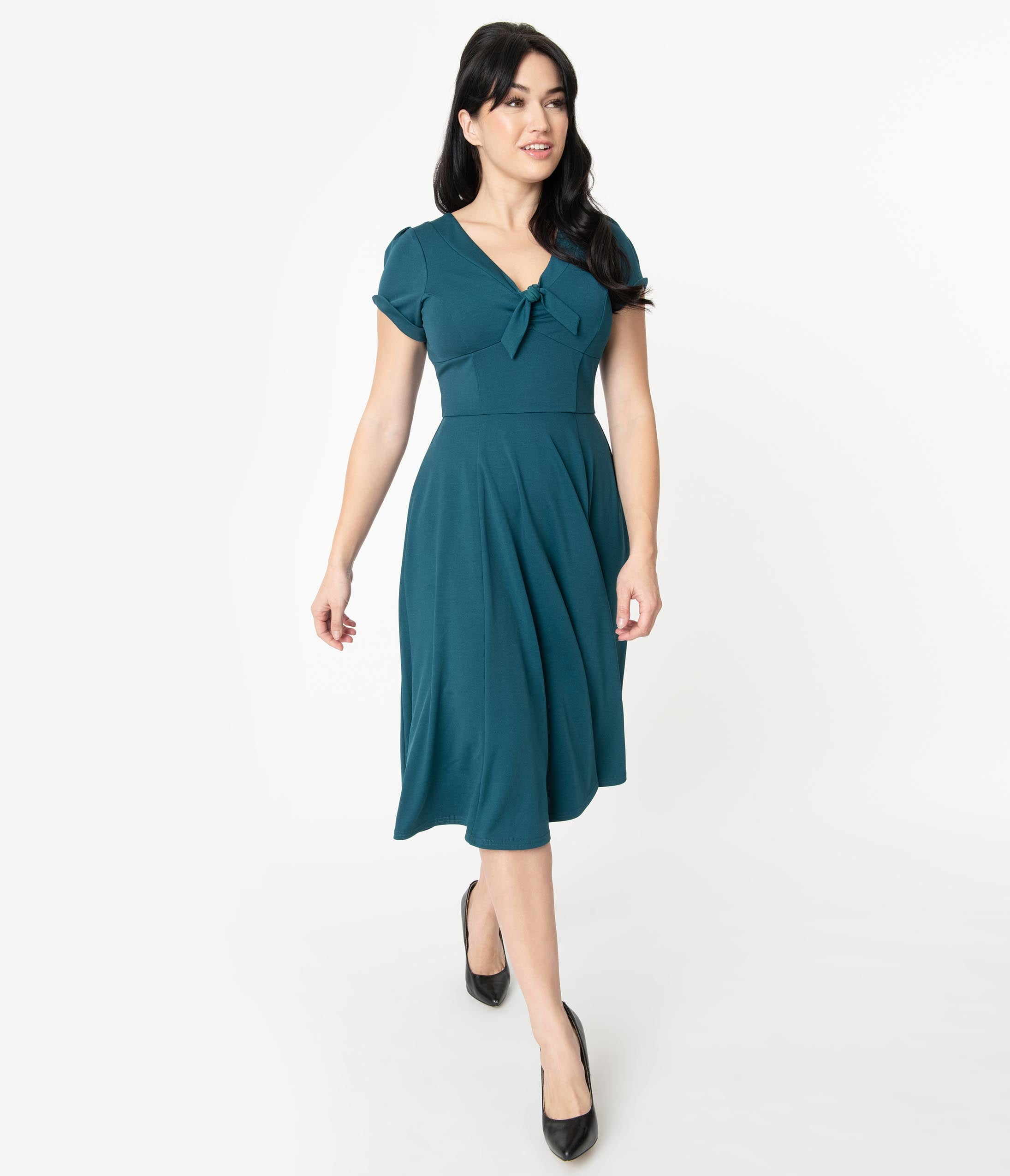 500 Vintage Style Dresses for Sale | Vintage Inspired Dresses Unique Vintage 1940S Teal Natalie Swing Dress $78.00 AT vintagedancer.com