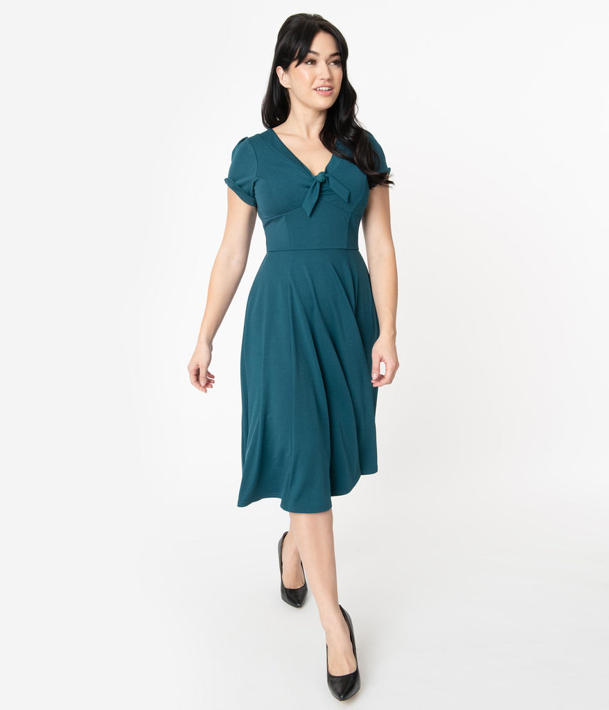Unique Vintage 1940s Teal Natalie Swing Dress