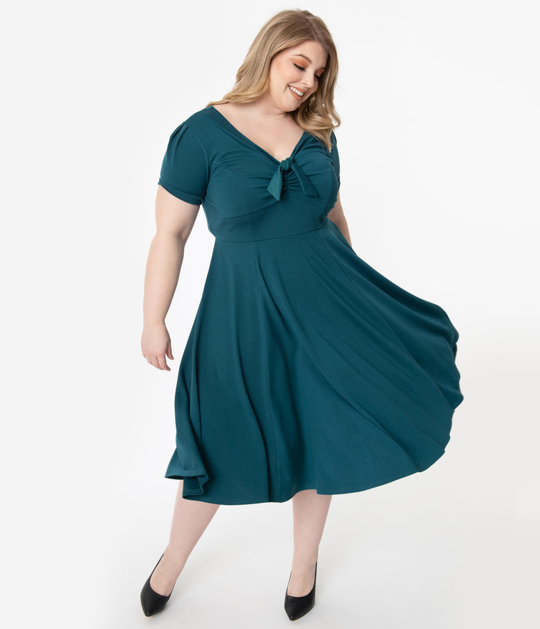 Unique Vintage Plus Size 1940s Style Teal Natalie Swing Dress
