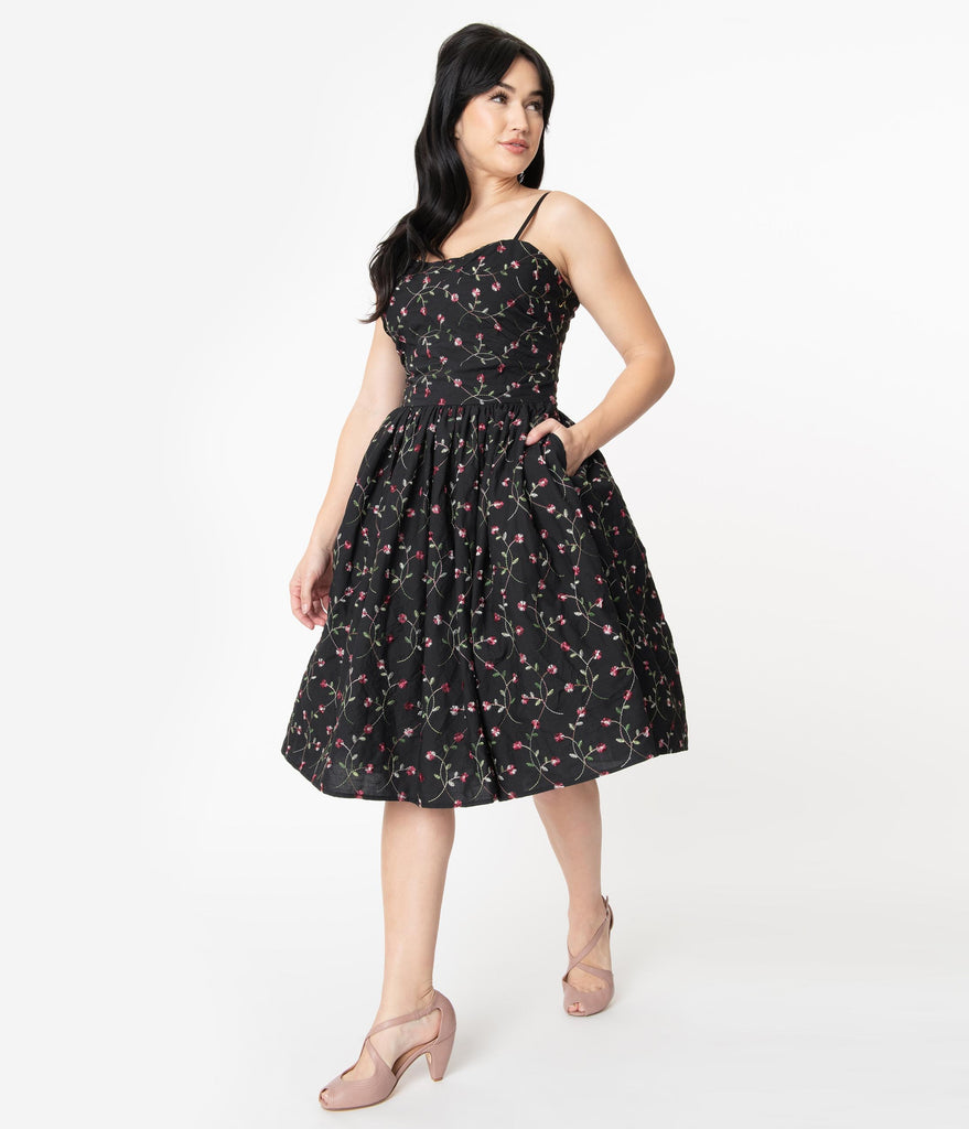 Unique Vintage 1950s Black Embroidered Floral Darcy Swing Dress