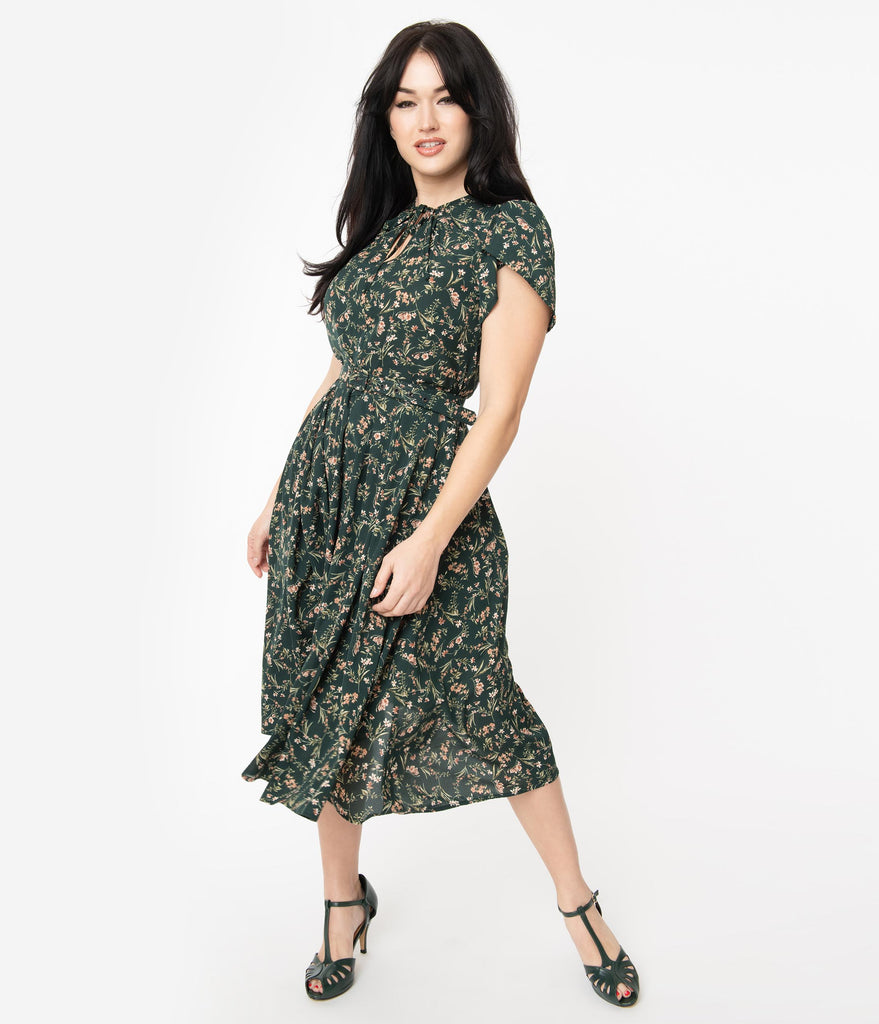 Unique Vintage 1950s Emerald & Pink Floral Dahlia Midi Dress
