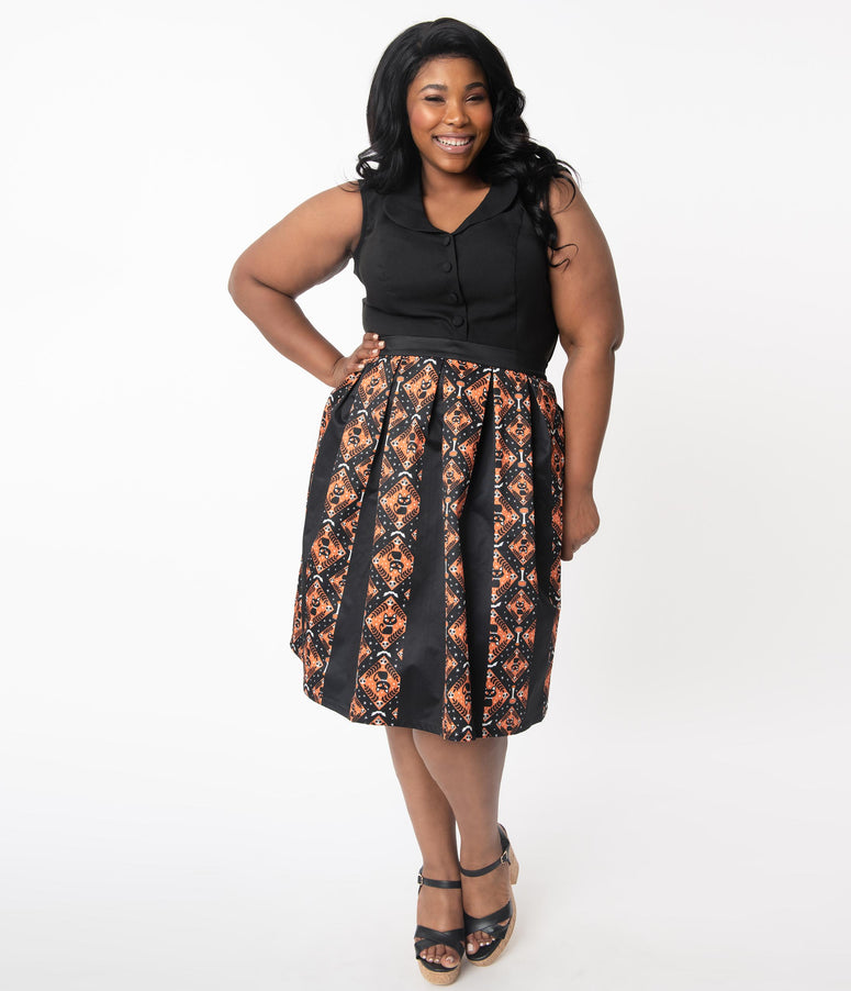 Unique Vintage Plus Size Black & Orange Halloween Print Jayne Swing Skirt