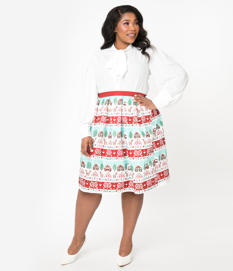 Unique Vintage Plus Size Winter Border Print Jayne Swing Skirt