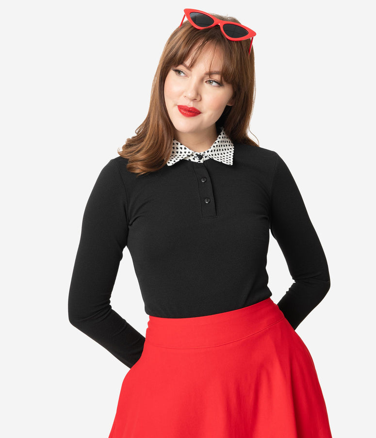 Retrolicious Black Get Hearts Collar Top