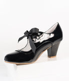 Vintage Style Black Patent Leatherette Wiggle Bow Heels