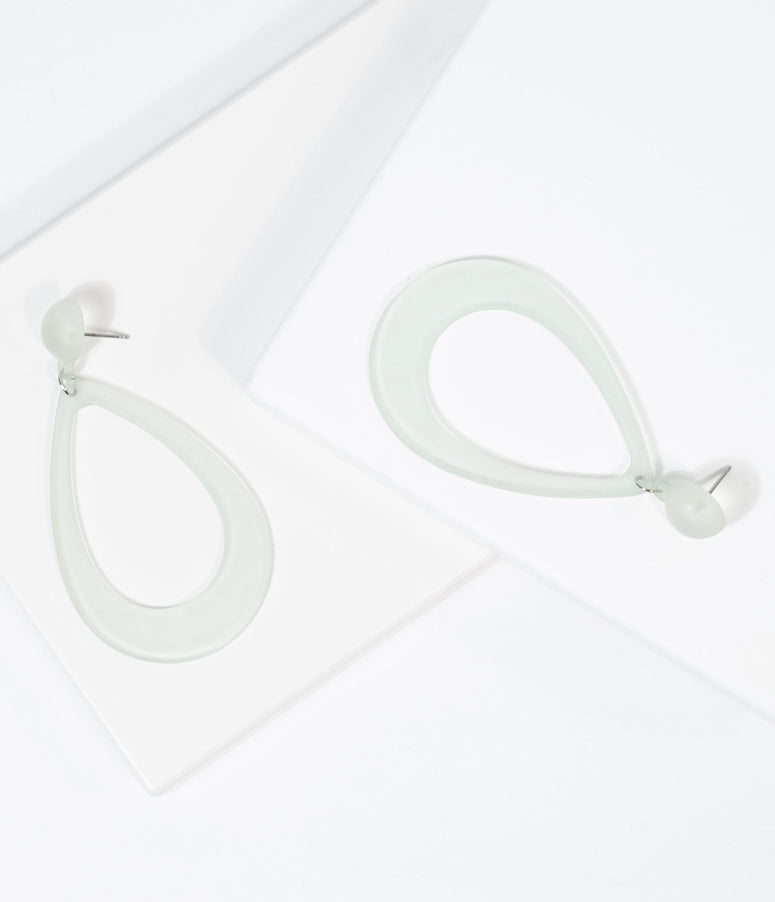 Frosted Mint Hoop Teardrop Earrings