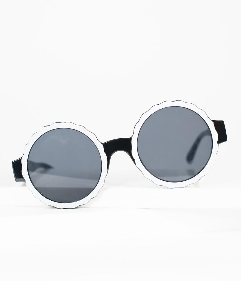1960s Black & White Omelette Mod Sunglasses