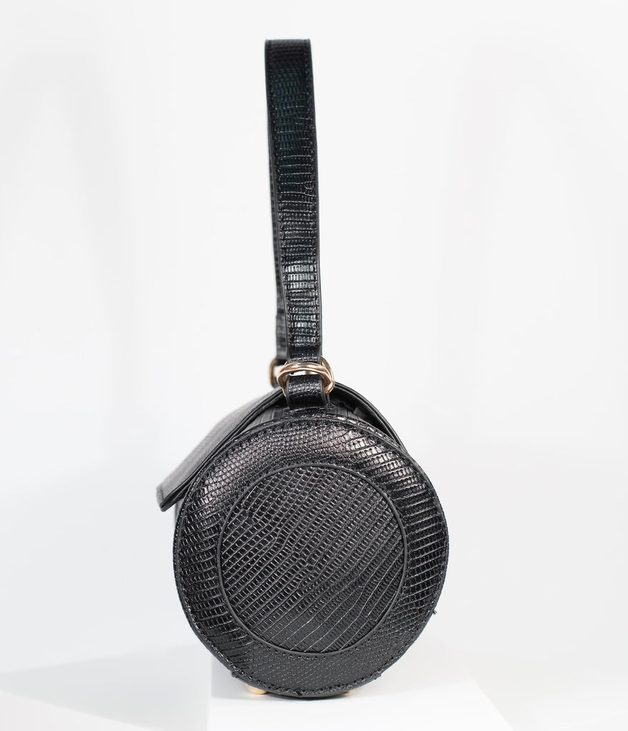 Black Embossed Leatherette Barrel Bag