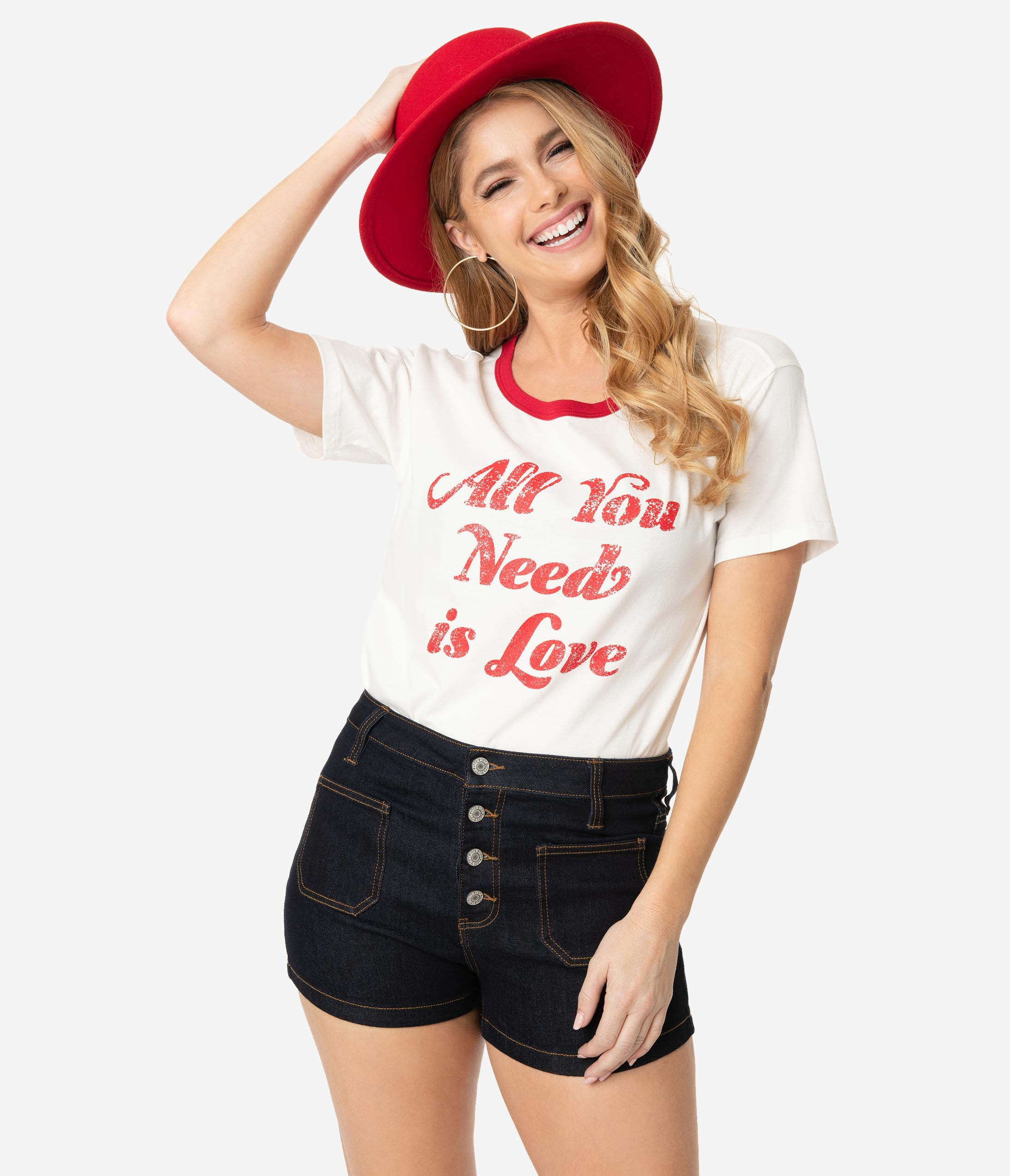 Valentines Day Dresses, Outfits, Lingerie | Red Dresses All You Need Is Love Faded Graphic Unisex Tee $28.00 AT vintagedancer.com