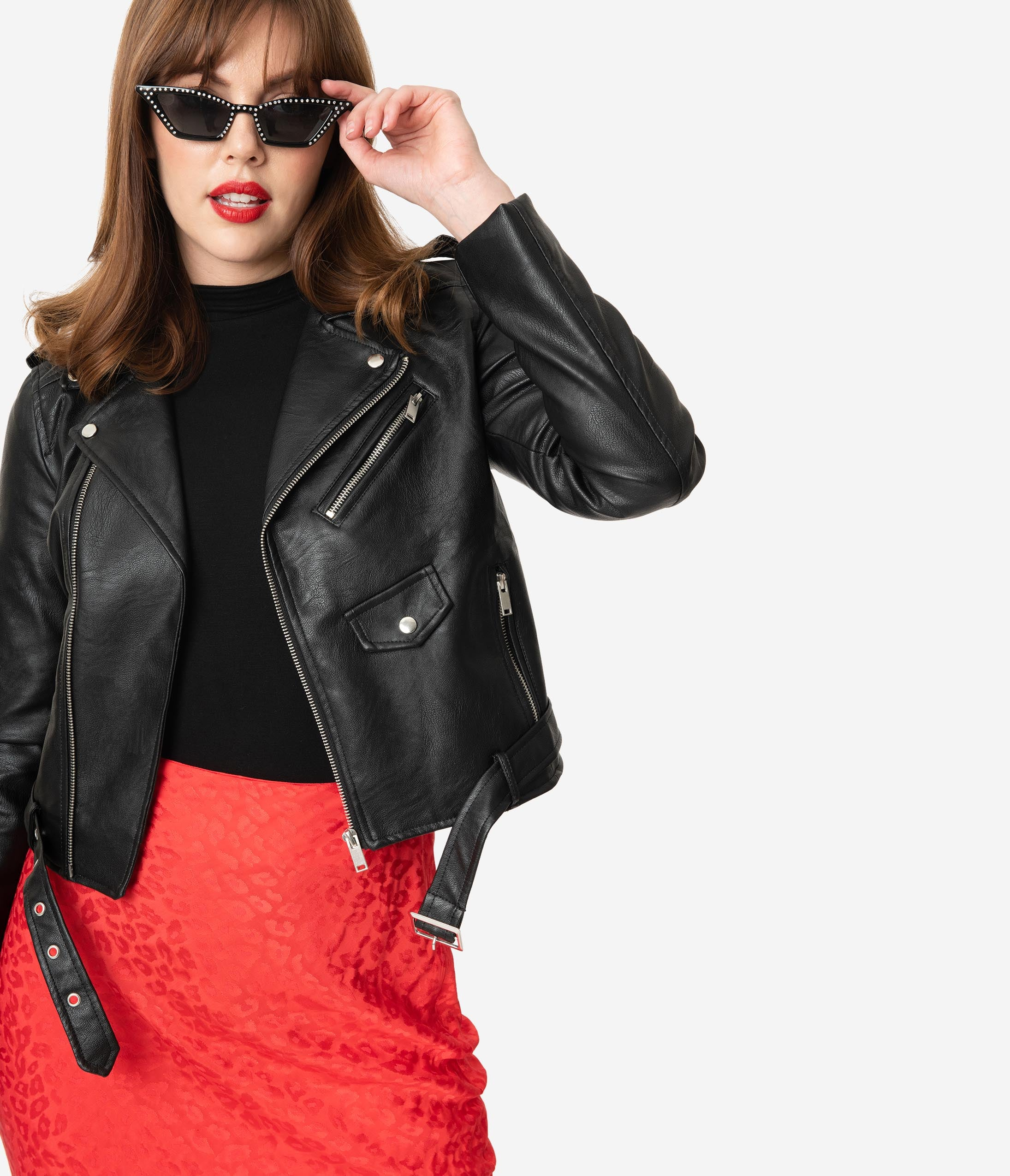 Vintage Coats & Jackets | Retro Coats and Jackets Black Leatherette Biker Jacket $48.00 AT vintagedancer.com