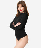 Black Mock Neck Long Sleeve Bodysuit