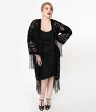 1920s Black Devore Velvet Lattice Scarf Coat