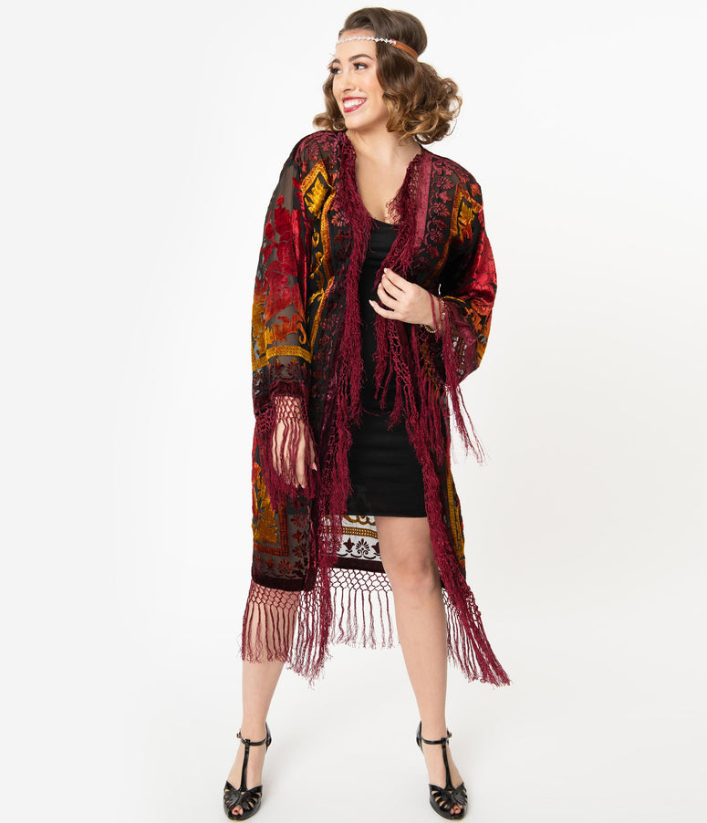 1920s Burgundy Devore Velvet Lattice Scarf Coat