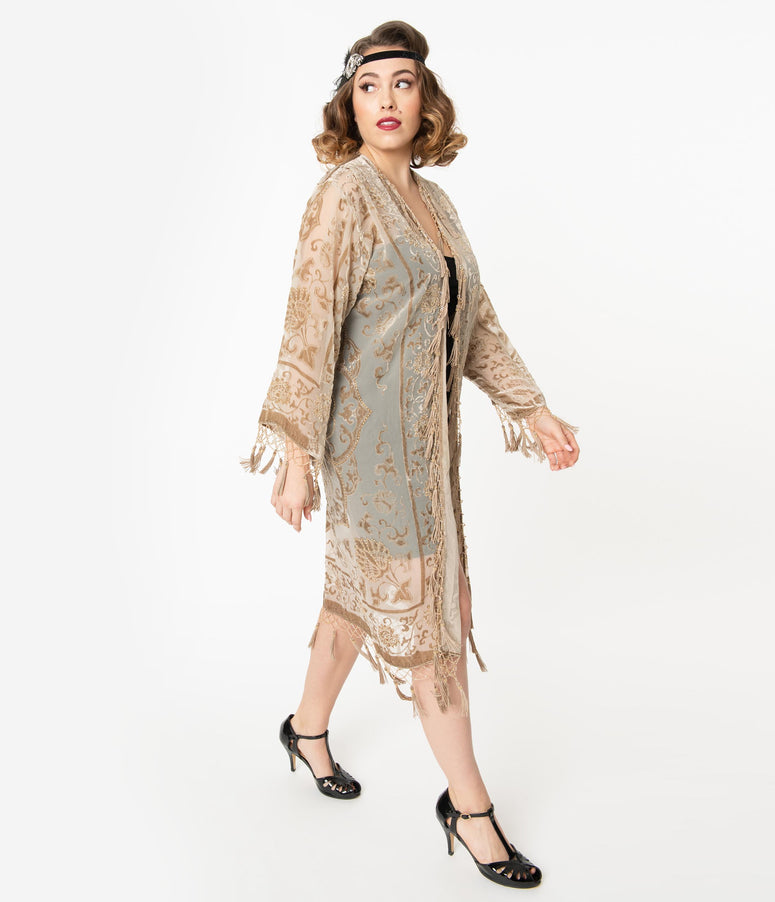 Champagne Medallion Devore Velvet Beaded Flapper Coat