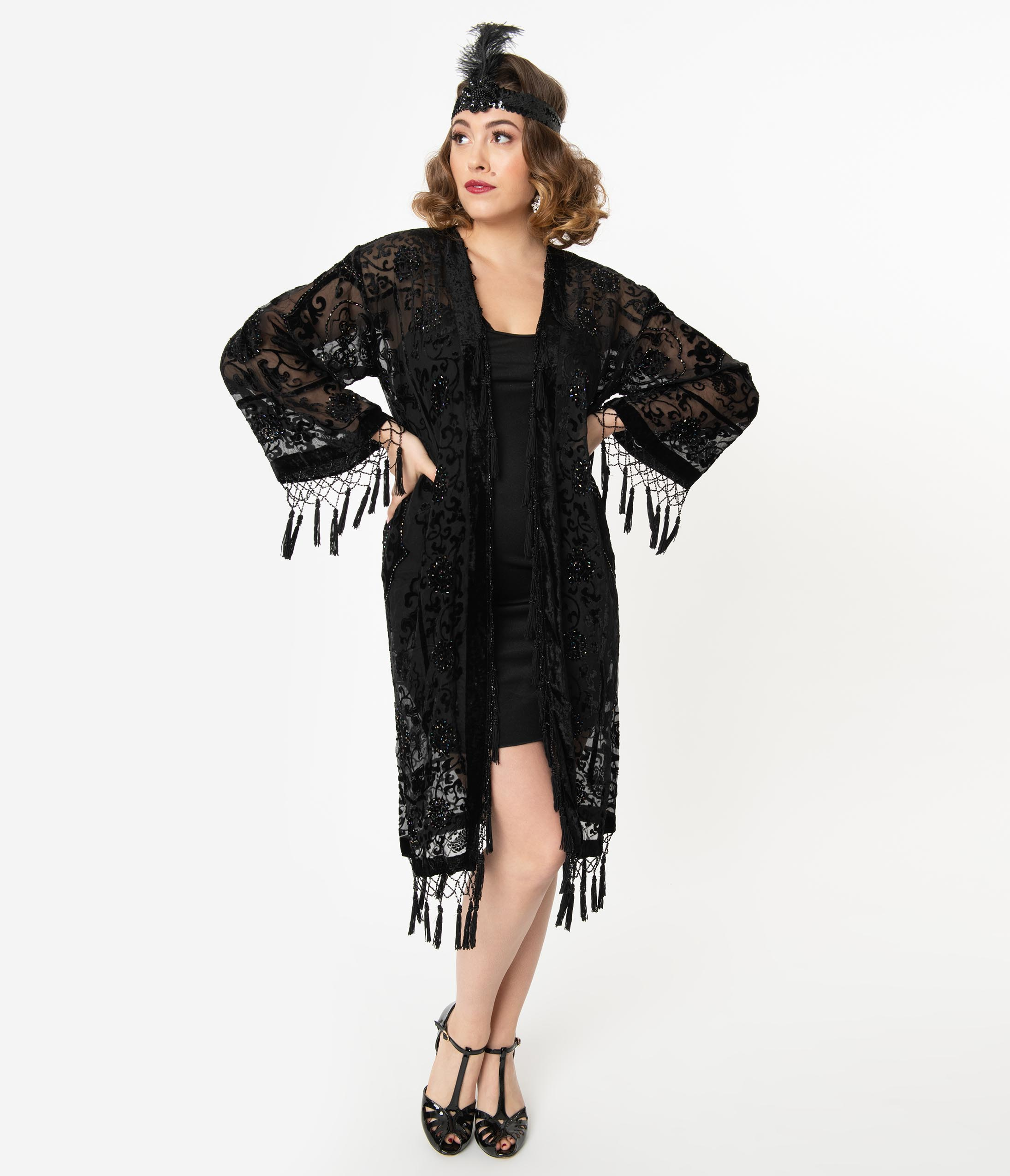 1920s Coats, Furs, Jackets and Capes History Black Medallion Devore Velvet Beaded Flapper Coat $188.00 AT vintagedancer.com