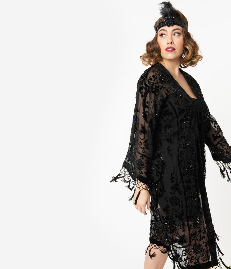 Black Medallion Devore Velvet Beaded Flapper Coat