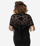 1920s Style Black Beaded Devore Velvet Shawl