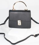 Black Leatherette & Gold Top Handle Purse