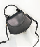 Vintage Style Black Leatherette Crescent Purse