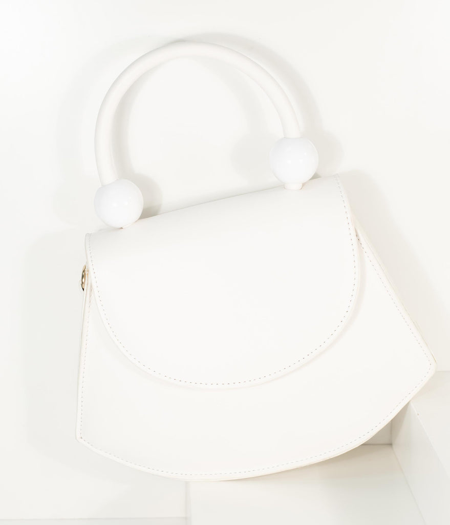 Vintage Style Ivory Leatherette Crescent Purse