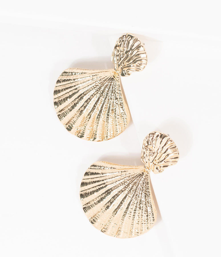 Gold Scallop Seashell Earrings
