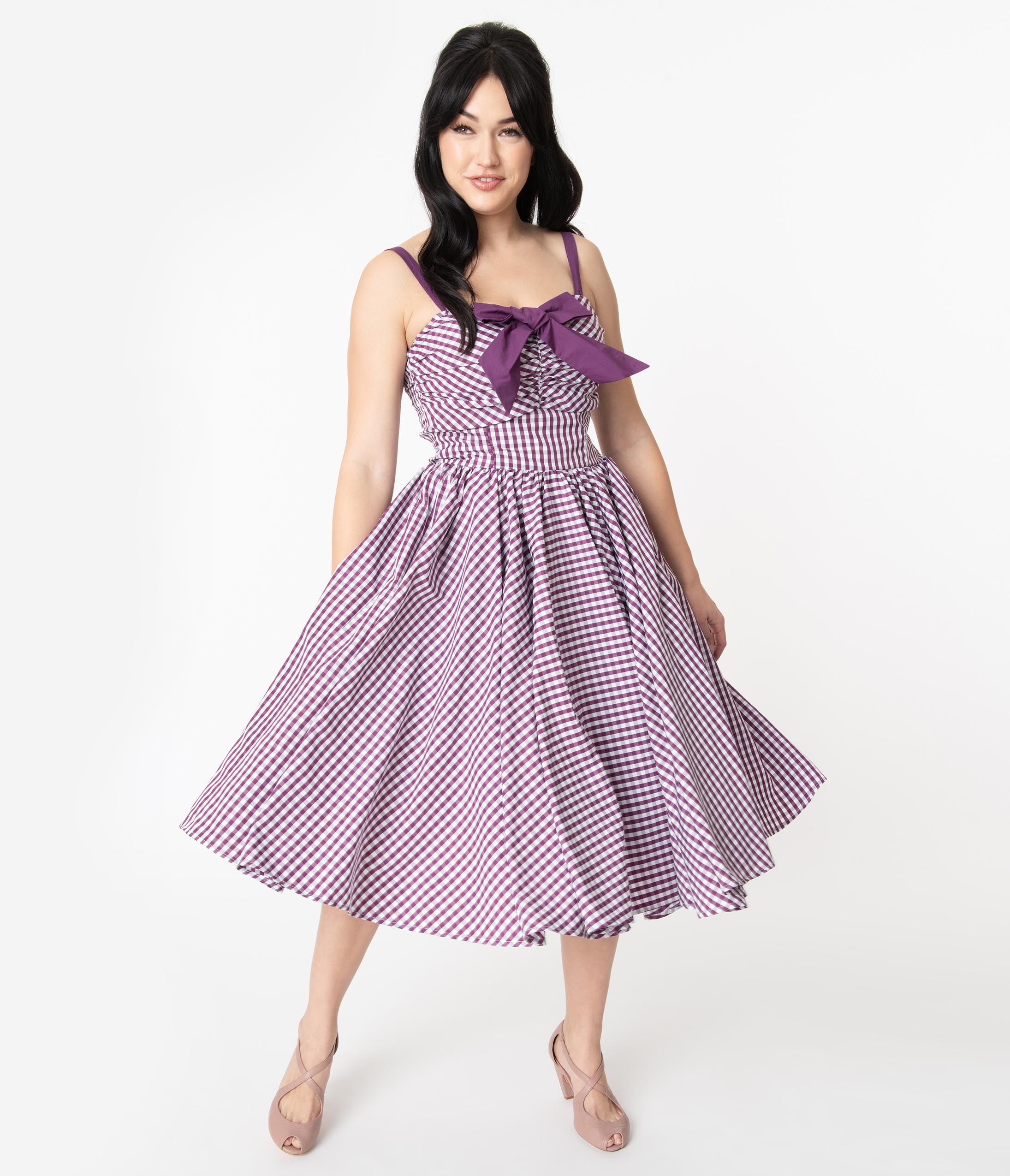 1950s Dresses, 50s Dresses | 1950s Style Dresses Unique Vintage 1950S Purple Gingham Golightly Swing Dress $88.00 AT vintagedancer.com