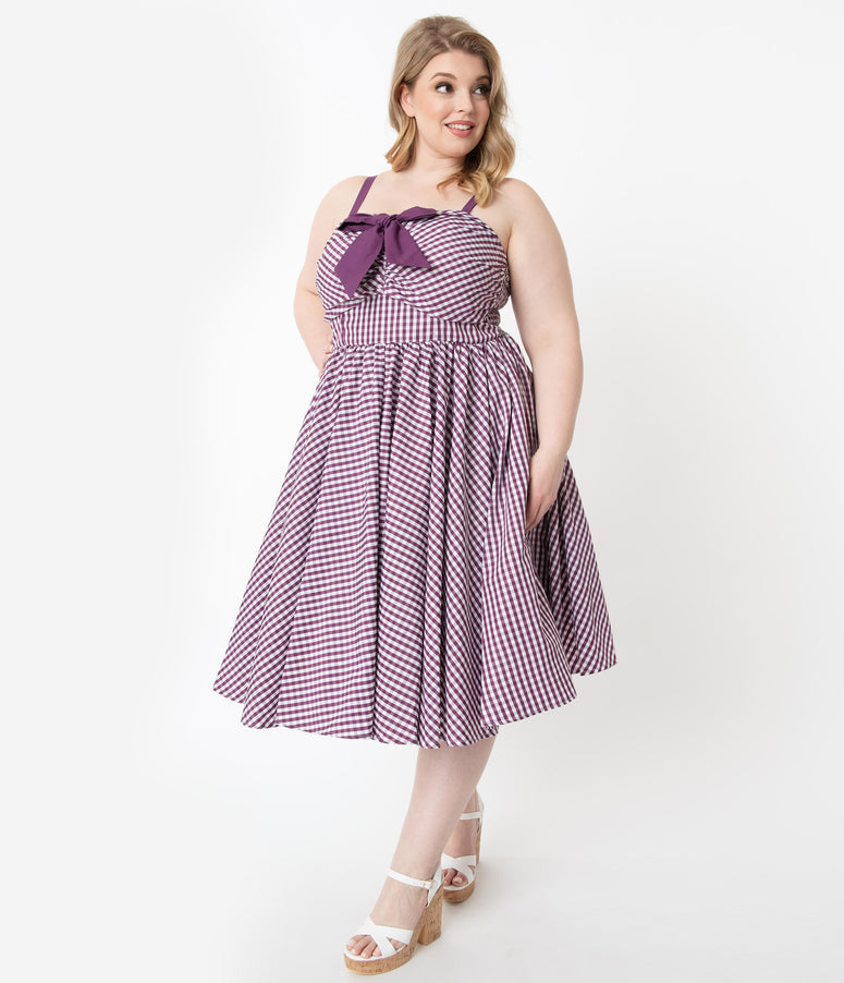 Unique Vintage Plus Size 1950s Purple Gingham Golightly Swing Dress
