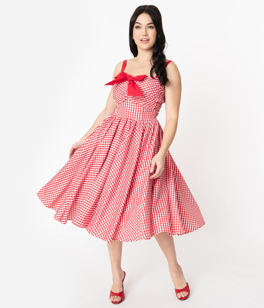 Unique Vintage 1950s Red Gingham Golightly Swing Dress