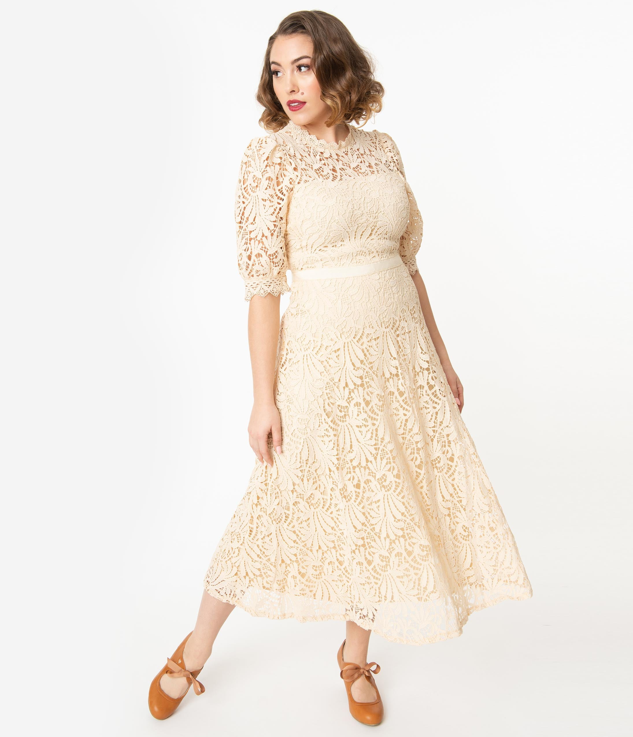1940s Dresses | 40s Dress, Swing Dress 1940S Style Cream Lace Midi Dress $98.00 AT vintagedancer.com