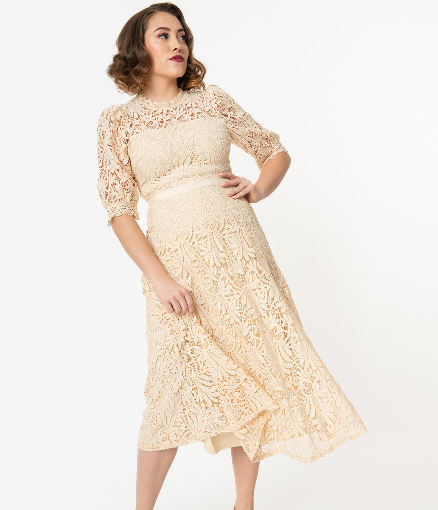 1940s Style Cream Lace Midi Dress