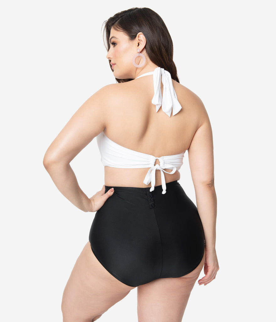 Unique Vintage Plus Size Black High Waist Louise Swim Bottoms