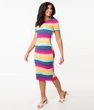Unique Vintage 1960s Multicolor Stripe Presley Wiggle Dress
