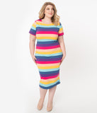 Unique Vintage Plus Size 1960s Style Multicolor Stripe Knit Presley Wiggle Dress