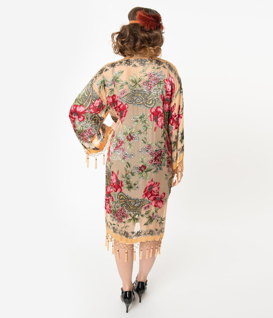 Flapper Style Gold Beaded Floral Print Scarf Coat
