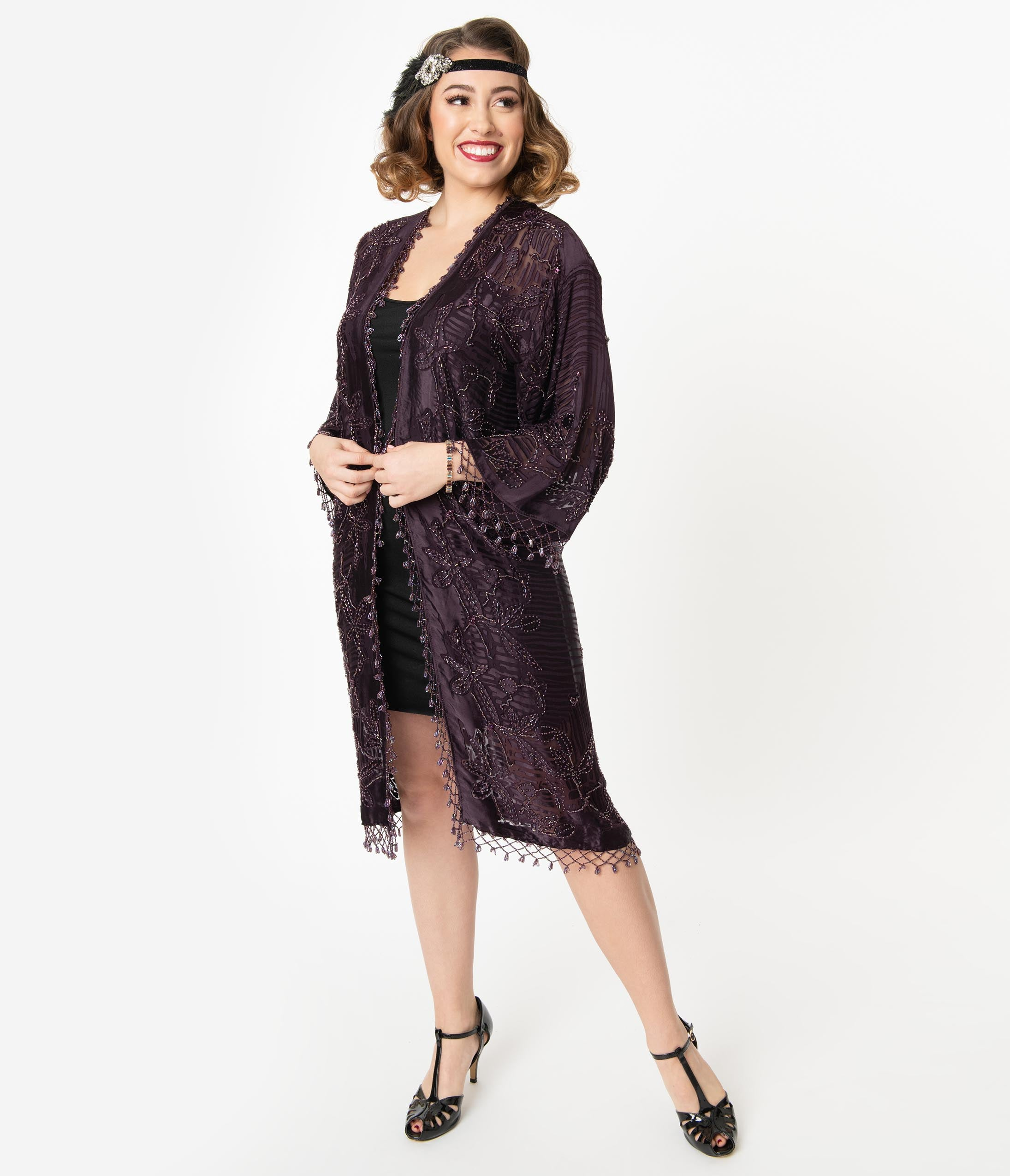 1920s Coats, Furs, Jackets and Capes History Vintage Style Plum Silk Beaded Flapper Coat $218.00 AT vintagedancer.com