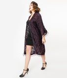 Vintage Style Plum Silk Beaded Flapper Coat