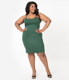 Unique Vintage Plus Size Dark Green Long Slip