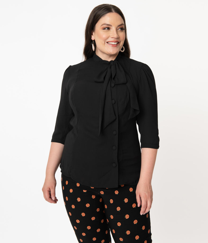 Unique Vintage Plus Size 1940s Black Chiffon Aria Blouse