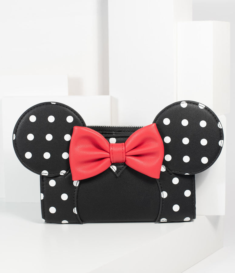 Loungefly Black Polka Dot Leatherette Minnie Mouse Wallet