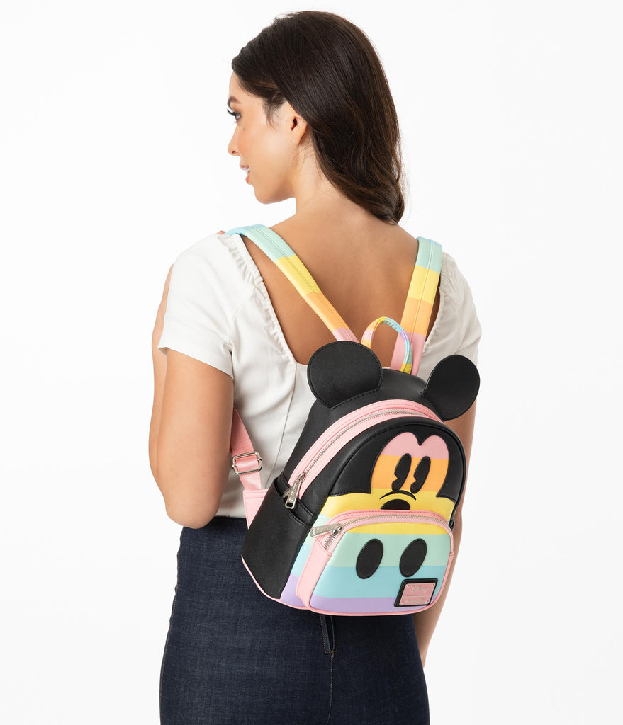 Loungefly Pastel Rainbow Mickey Mouse Mini Backpack