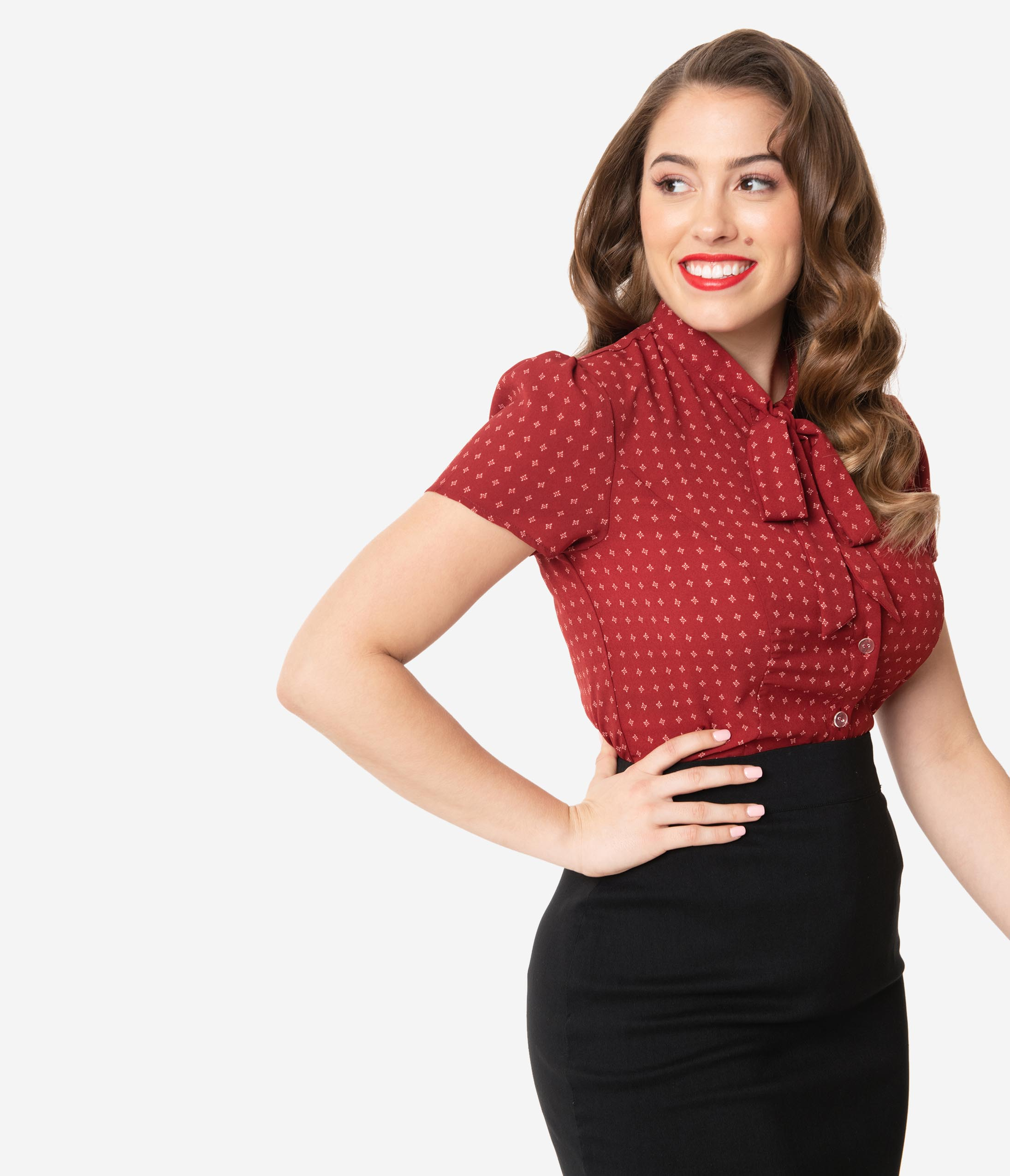 1940s Plus Size Fashion: Style Advice from 1940s to Today Unique Vintage 1940S Red  Retro Dotted Print Elsie Blouse $48.00 AT vintagedancer.com