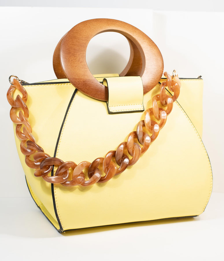 Retro Style Sunflower Yellow Leatherette Cora Satchel
