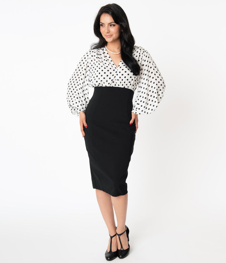 Unique Vintage Ivory & Black Dot Swanson Wiggle Dress