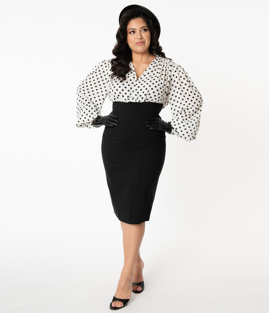 Unique Vintage Plus Size Ivory & Black Dot Swanson Wiggle Dress