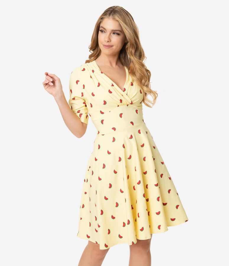 Unique Vintage Light Yellow Watermelon Print Delores Fit & Flare Dress