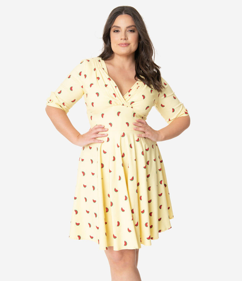 Unique Vintage Plus Size Light Yellow Watermelon Print Delores Fit & Flare Dress
