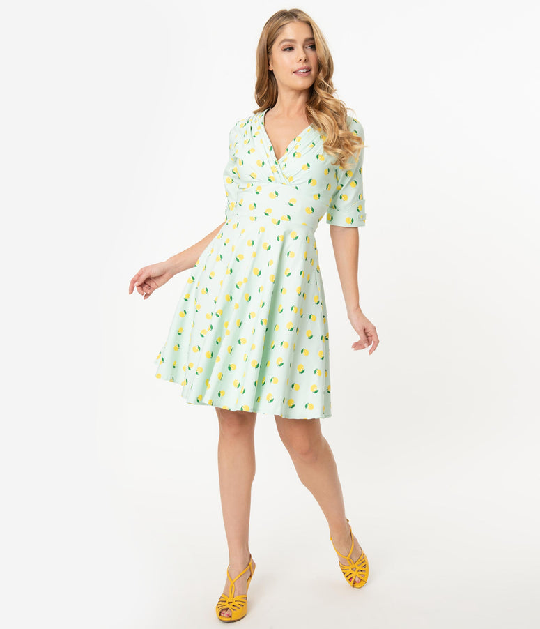Unique Vintage Mint Lemon Print Delores Fit & Flare Dress