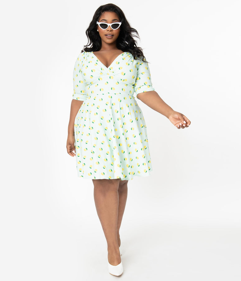 Unique Vintage Plus Size Mint Lemon Print Delores Fit & Flare Dress