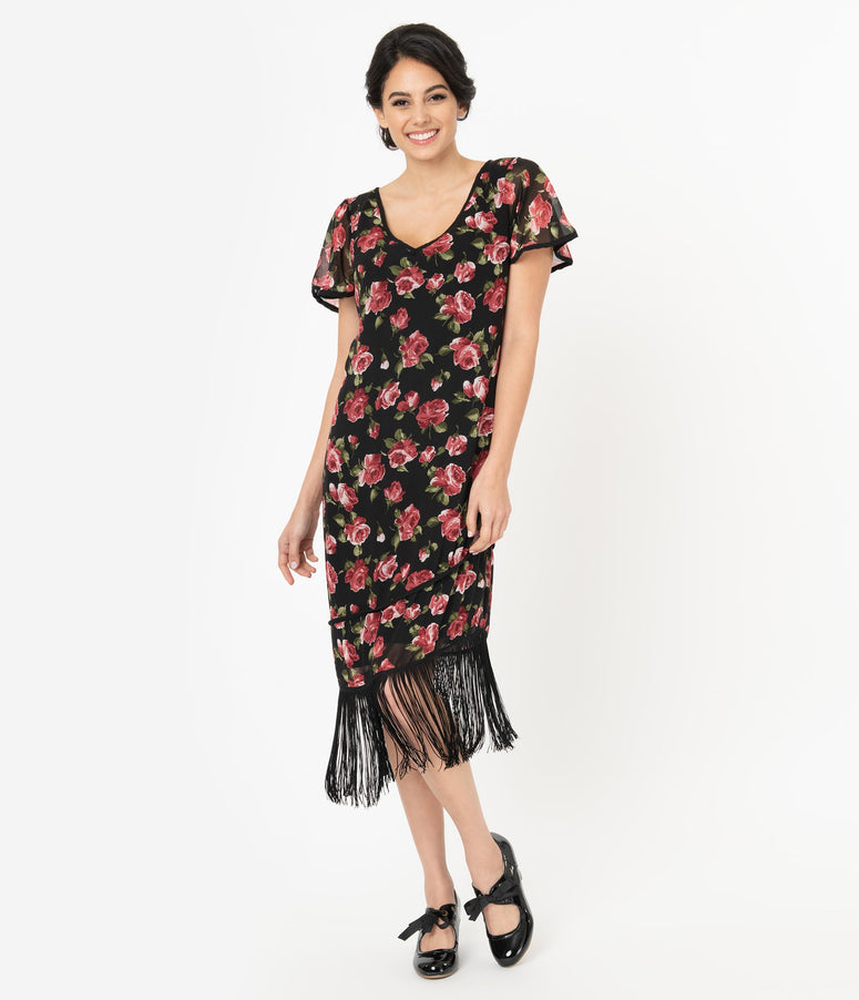 Unique Vintage Black & Pink Floral Joyeux Flapper Day Dress